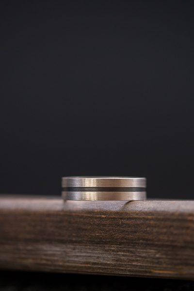 טבעת פס מכסף