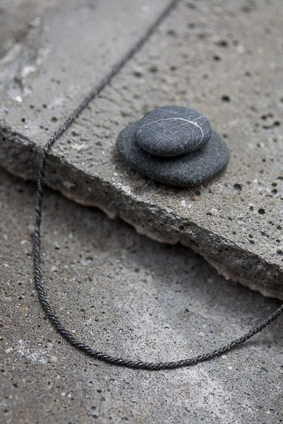 black thin necklace